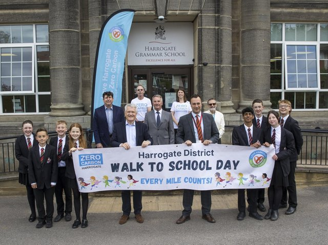 Walk to School Day - Supported by the Harrogate Borough Council, Andrew Jones, MP for Harrogate and Knaresborough, was at Harrogate Grammar School along with Councillor Phil Ireland, Councillor Paul Haslam, and Professor Neil Coles, Chair of the Harrogate District Climate Change Coalition.