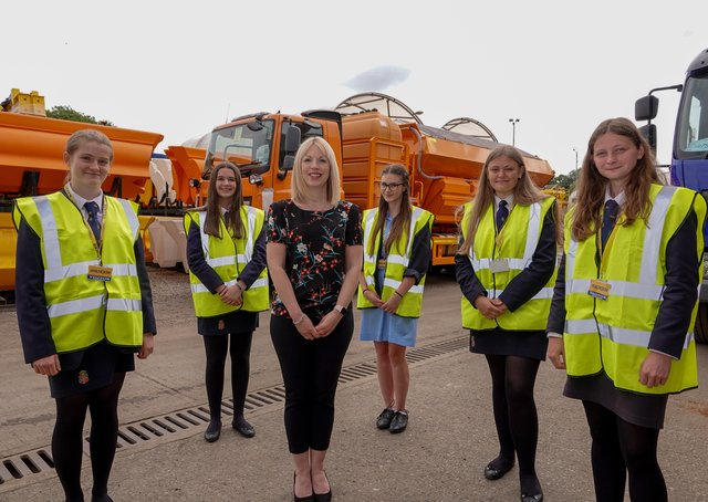 Beverley Shepherd, Econ Engineering's Finance Director is pictured with the Ripon Grammar School Year 12 girl STEM subject pupils during the tour of the factory