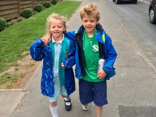 Pupils from Oatlands Infant School taking part in Harrogate's first Walk to School Day.