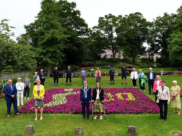 President Sandra Frier and members of the Harrogate and District Soroptimist, Soroptimist International attended the presentation of their flower bed this week at Montpellier Hill from Harrogate Borough Council and the team at the Parks and Enviroment Services. Picture Gerard Binks