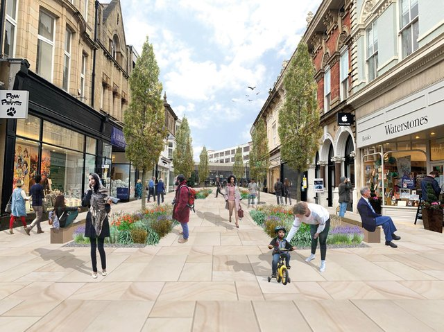 How a pedestrianised James Street in Harrogate might look under one of the many options outlined in the Gateway project.
