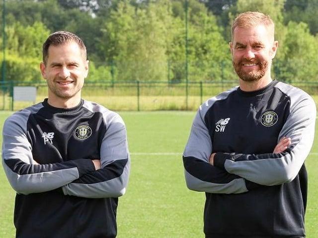 Paul Thirlwell, left, and Simon Weaver at Harrogate Town's training ground.