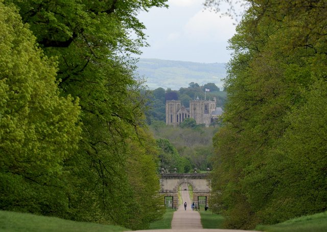 25th May 2021Harrogate walking feature.Pictured Studley Royal Deer Park with Ripon Catherdral in the backgroundPicture Gerard Binks
