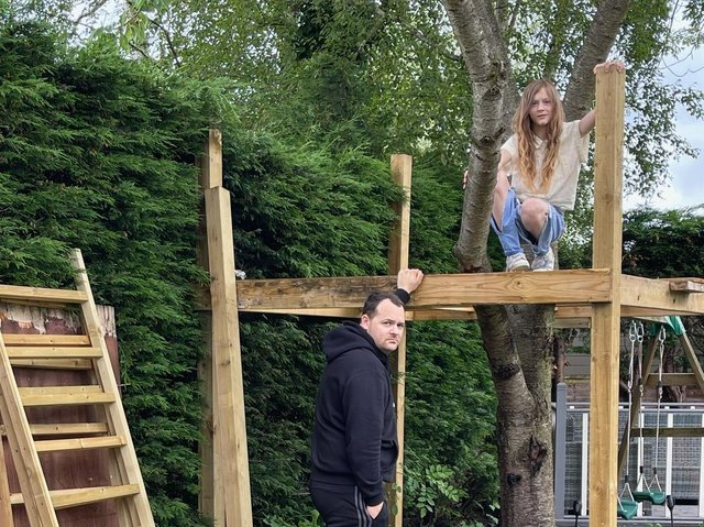 Harrogate dispute - Dad Richard Williams says he built the treehouse for his autistic daughter Tiana as a safe place for her to go for some peace and fresh air.