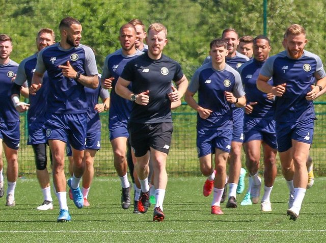 Harrogate Town's first-team squad put in the hard yards during pre-season training. Pictures: Matt Kirkham