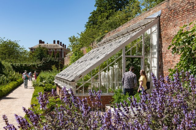 Visitors in the Walled Garden at Beningbrough Hall and Gardens, North Yorkshire