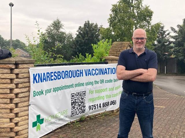 Homecare Pharmacy director Jason Baskind at the Knaresborough Vaccination Centre.