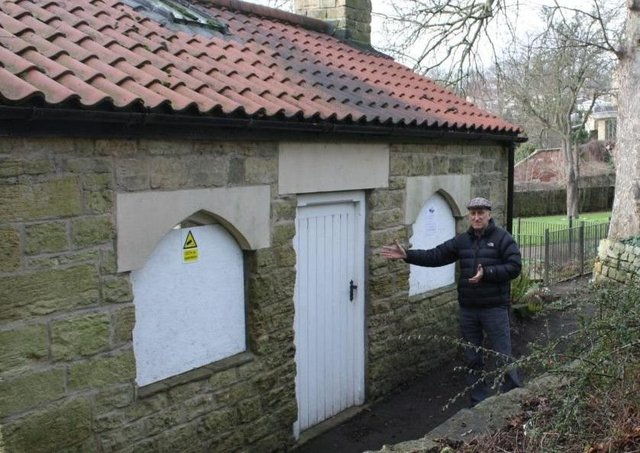 Coun Harry Chapman pictured at the Bath House when it was vandalised in 2019.