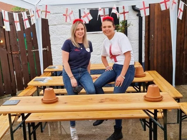 C'mon England - Harrogate bar The Tap at Tower Street staff members Caitlin Labonte and Sophie McGeever before the England v Italy match.