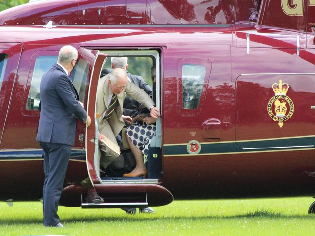 HRH The Prince of Wales and HRH The Duchess of Cornwall arriving in Harrogate by helicopter. (Picture by Neal Johnson)