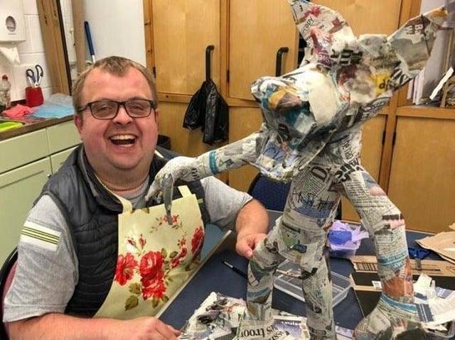 Artmaker Andy creates a boggart at Henshaw's Arts & Crafts Centre at Knaresborough.