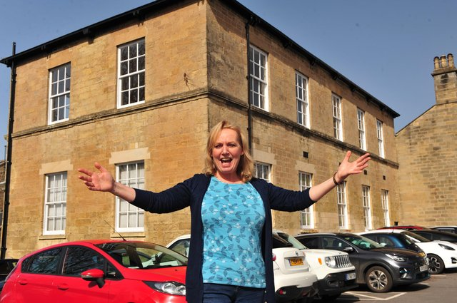 Kathy Allday of Knaresborough Museum Association outside the Castle Girls School, Knaresborough. Picture Gerard Binks