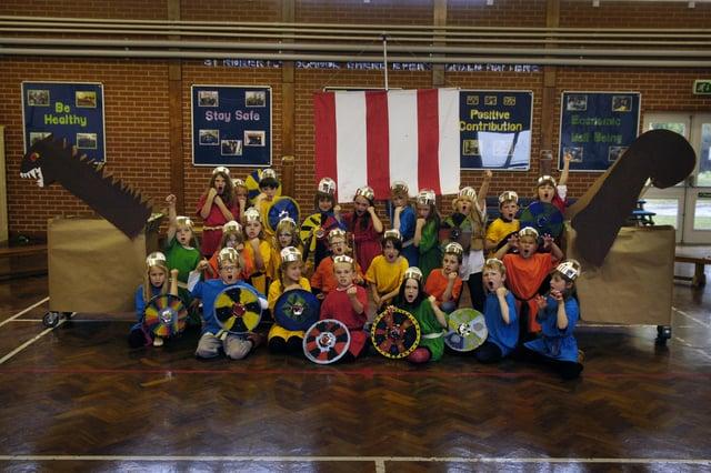 St Robert's Catholic Primary School pupils rehearse their viking production.
