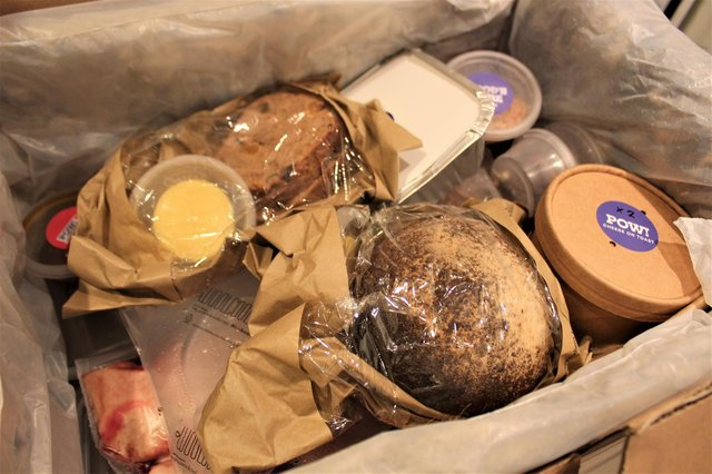 A glimpse of what's inside the Peels on Wheels box.