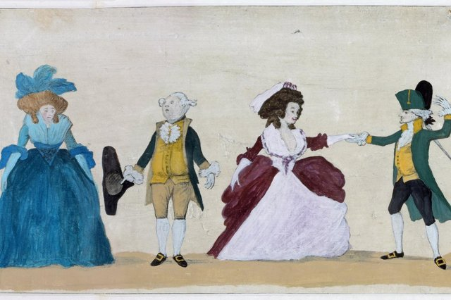 """Detail from """"A Long Minuet as Danced at Bath, 1787"""" by  the artist and caricaturist Henry William Bunbury (1750 – 1811)"""